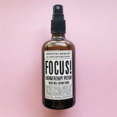 Potions BCN - Focus! Aromatherapy Potions, bruma de almohada relajante con aceites esenciales ayuda a estudiar y a concentrarse