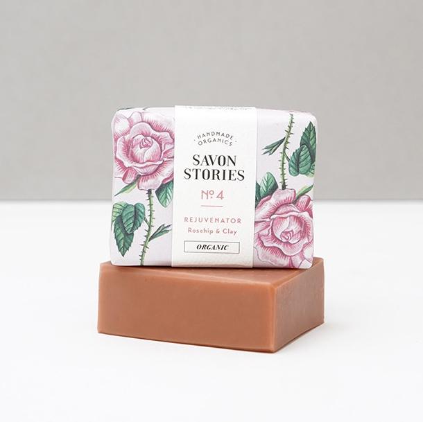 Jabón ecológico vegano rosa mosqueta y arcilla rosa Potions BCN Savon Stories
