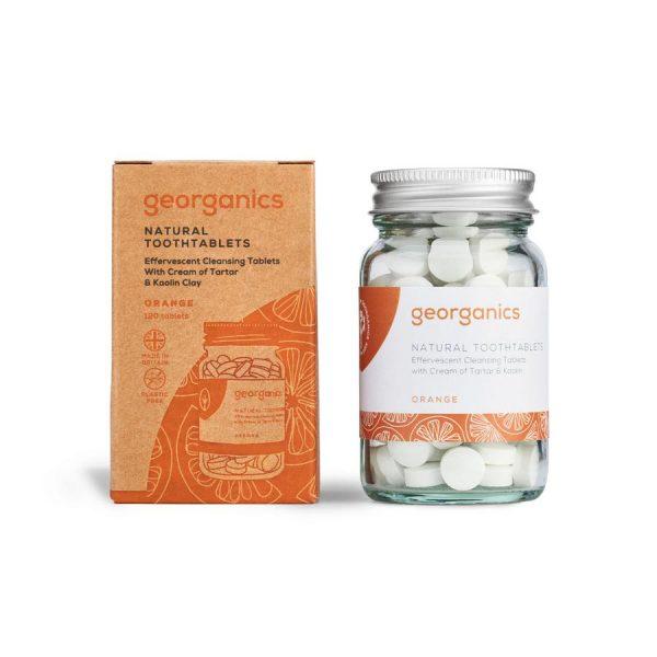 Dentífrico en pastillas naranja zero waste vegano Georganics Potions BCN