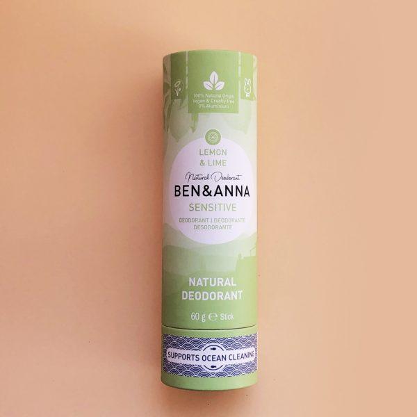 Desodorante sin bicarbonato para pieles sensibles, vegano natural en stick Ben & Anna - Potions BCN