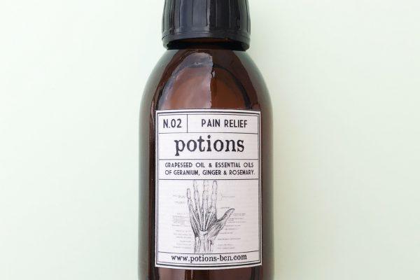 Pain Relief - Aceite ecológico de masaje para dolores musculares - Potions BCN productos veganos